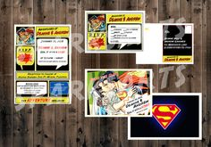 Superhero wedding superman and bride wedding invitation set. Hey, I found this really awesome Etsy listing at https://www.etsy.com/listing/204896706/superhero-wedding-set-superman-custom