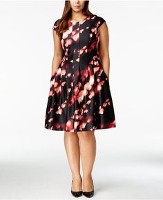 Calvin Klein Plus Size Printed Fit & Flare Dress