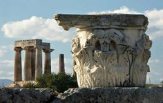 The Doric Temple of Apollo and a Corinthian capital. Corinth Greece, Wonderful Places, Beautiful Places, Greek History, Hades And Persephone, Greek Art, Ancient Greece, Greece Travel, Archaeology