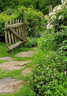 Old gate and stone path.