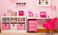 quarto feminino rosa tema bonecas kokeshi