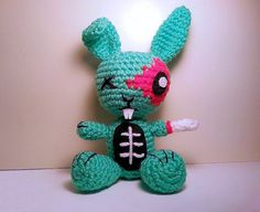 INSTANT DOWNLOAD - Crochet Zombie Bunny Amigurumi Pattern - $2.99 - thezombiehooker on Etsy