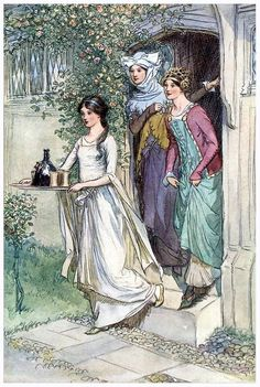 Joanna, Berengaria and Mariam awaiting Richard while on Cyprus. The illustrator is Hugh Thomson and this illustration was for the Merry Wives of Windsor in 1910, but I thought it would do nicely for this trio of women in Lionheart, too.
