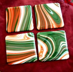 Fused Glass Christmas Coasters, Handmade Coasters, Hostess Gift by rosepetalsjewelry on Etsy