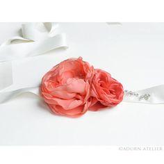 Custom Made Coral Rose Sash with crystal beadwork