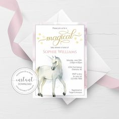 Unicorn Baby Shower Invitation Template, Unicorn Baby Shower Invite Printable, Editable DIGITAL DOWNLOAD - D200 - @PlumPolkaDot