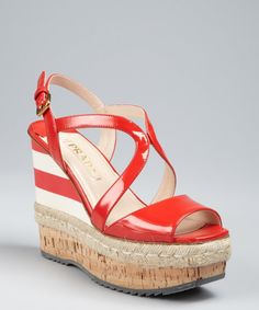 b6bde4b001bc Prada Red Prada Sport Red and Cream Patent Leather Espadrille Cork Wedges  Peep Toe Wedges