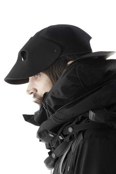 "Aitor Throup 2013 ""New Object Research"" Collection : Check it! It a hat that folds down into a mask! Neat."