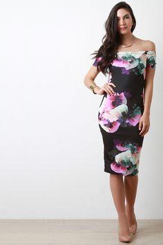 Off The Shoulder Short Sleeve Floral Bodycon Dress