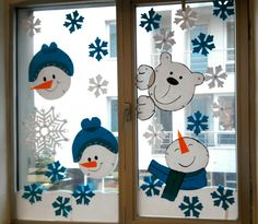 DIY Window Decor Ideas For Christmas - Weihnachten Decoration Creche, Christmas Window Decorations, Holiday Decor, Snowman Decorations, School Decorations, Winter Crafts For Kids, Diy For Teens, Preschool Crafts, Simple Designs