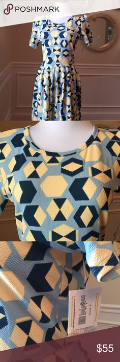 Lularoe Amelia large blue yellow dress New with tag, shipped from a smoke free and pet free home. LuLaRoe Dresses
