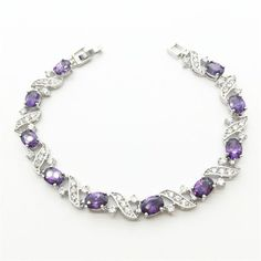 18K White Gold Link Chain Bracelets & Bangles Purple Sapphire Tanzanite Jewelry