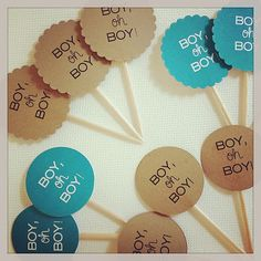 Baby Boy Cupcake Toppers / Custom Colors / Set of by limefishshop, $12.00