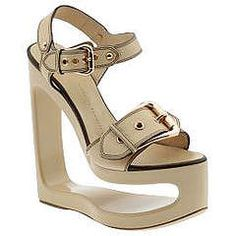 """Naughty Dancer Shoes: 7"""" Wedges Have a Sexy Carving of a Woman and a Pole"""