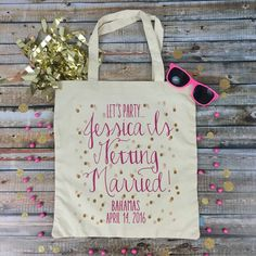 How adorable are these LETS PARTY totes?! Oh so perfect for any bachelorette bash!!