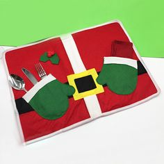 1pcs Santa claus clothes shaped knife and fork meal pad Christmas Children Dining Table Mat Coaster Christmas Kitchen Supplies #Affiliate