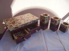 Decoupage kuferek i świeczniki