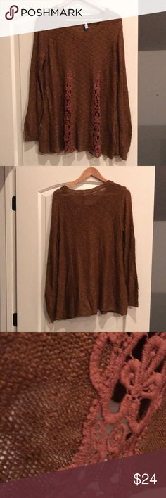 """Beautiful Crochet Detailed Sweater/Tunic! Beautiful for layering or not. Great with leggings or toothpick jeans. A lovely bronze/brown.  I am too short to pull it off! 19"""" Underarm to Underarm  27"""" from Shoulder to hem lying flat As always, make an offer! Selfie Couture Sweaters Crew & Scoop Necks"""