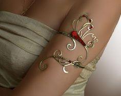 brazo brazalete, brazalete, brazalete de brazo superior, parte superior brazo, joyería, brazo pulsera, mariposa, cobre de la joyería