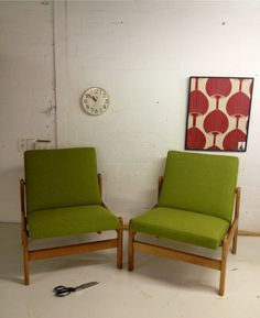 "Two Danish Atmchairs Warwick fabric, ""Beachcomber"" colour kiwi"