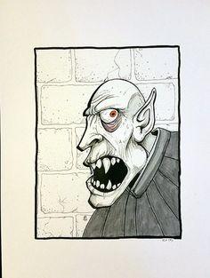 Orlok - Art by Krowe (Jake Perez) Pen, Monster, Artwork, Ink, Humanoid Sketch, Vampire, Draw, How To Draw Hands, Original Artwork