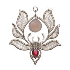 Serenity Pendant - The symbolism of the lotus flower is different across cultures, but the most amazing thing about the lotus is that, although it's rooted in mud, the flower rises above the muddy waters, with clean petals every day. Handmade silver pendant, lightweight pendant with chalcedony and garnet gemstones, 4 cm wide, 4.3 cm long handmadeearrings #giftideas #uniquedesigns #silverearrings