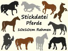 Stickdatei PFERDE Pferd Silhouette Scherenschnitt von fatto-a-mano auf DaWanda.com