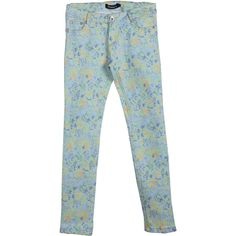 Green Button Fly Floral Pencil Pant (33 CAD) ❤ liked on Polyvore featuring pants, sheinside, floral trousers, green pants, flower print pants, floral pants and green trousers