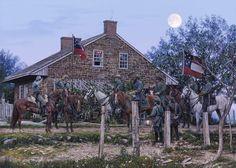 HEADQUARTERS, GETTYSBURG    Generals R.E. Lee & James Longstreet, Major Marshall, Lt. Col. Taylor  Gettysburg, Pennsylvania - July 1, 1863