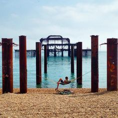 The remains of the West Pier, Brighton: The Pier had suffered damage from storms and several fires later in 2003 spelled the end of any renovation plans. The skeletal hulk is all that is left.
