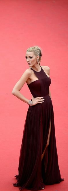Blake Lively with Marsala dress on the red carpet . #michael kors #redcarpet