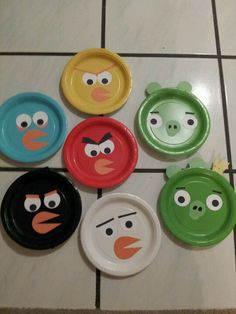 I made these from colored paper plates cut out the shapes from construction paper for & my angry bird pillow...   felt pillow   Pinterest   Angry birds ...