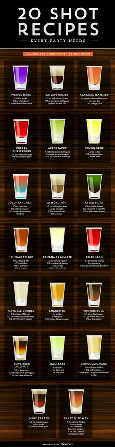 Watch out — these fun shooters go down easy, but they pack a punch alcohol recipes Even if you don't party anymore, these shot recipes are worth trying Liquor Drinks, Cocktail Drinks, Liquor Shots, Alcoholic Beverages, Whiskey Shots, Alcholic Drinks, Lemonade Cocktail, Vodka Shots, Brunch Drinks