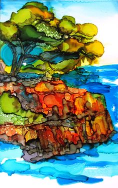 Alcohol ink - Lonely pine tree 2  a landscape in ink  7 x 9 by Kitty69 on Etsy, $75.00