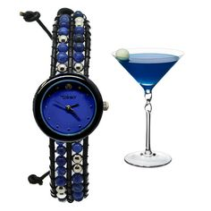These beautiful timepieces are a great expression of elegance and style. It features precious stones weaved through genuine leather bracelets, and each watch is themed to one our favorite cocktail drinks! Every hour is happy hour when you've got one of these on your wrist.  Stone: Blue Sodalite...