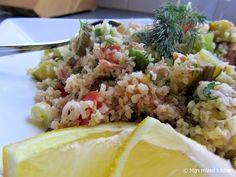 Mijn mixed kitchen: Maaltijdsalade van bulgur met tonijn, avocado en rauwkost