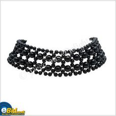 New Black Beaded Choker Necklace - Goth / Eve on eBid.net Un ...