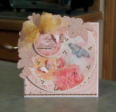Friendship Birthday Card using Hunkydory Rose Garden card toppers from the Lovely Ladies collection.