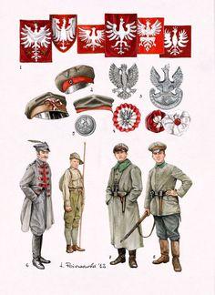Mundur i broń Wojsk Wielkopolskich 1918/20 Poland Ww2, Army History, Independence War, Poland History, Russian Revolution, Alternate History, World War One, Military Art, Flags