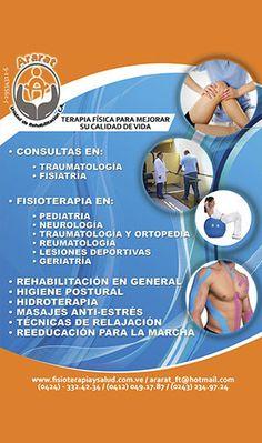 ARARAT. UNIDAD DE REHABILITACION, C.A ......................................... Fisioterapia y rehabilitación, electromiografía, fisiatría, traumatología, tracción cervical y lumbar, ACV, lesiones deportivas, terapias anti-stress, terapia neural, quiropedia para pies y uñas, control de peso. Profesionales a su servicio http://www.amarillasinternet.com/ararat/