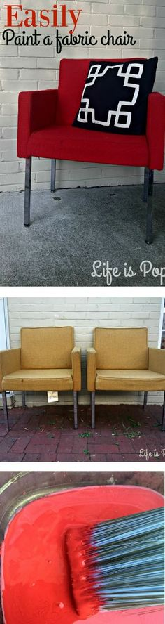 Easily a Paint Fabric Chair + DIY Paint Recipe