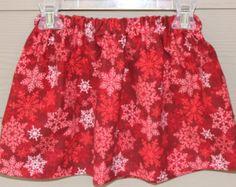 Girls Skirt, Red Snowflake Skirt, Baby Skirt, First Christmas Skirt, Snowflake Skirt, Toddler Girls Skirt, Fleece Skirt