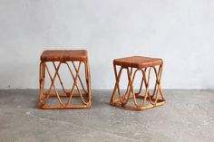Pair of Square Wicker Nesting Tables For Sale at 1stdibs
