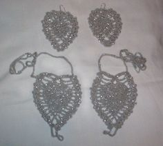Hand Crochet Silver Glitter Pineapple Barefoot Sandals & Earrings $