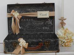 Suitcase Wedding Cardholder / Suitcase Card Holder / Card Box / Paris Themed Wedding on Etsy, $50.00