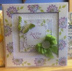 Card, made by me, using Sentimentally Yours Flower Burst Stamps, Sentimentally Yours Lush Leaves Stamps and Sentimentally Yours Baroque Sentiments Stamps :-) Create And Craft Tv, Altered Canvas, Hand Made Greeting Cards, Sue Wilson, Die Cut Cards, Clear Stamps, Handmade Cards, Cardmaking, Butterflies
