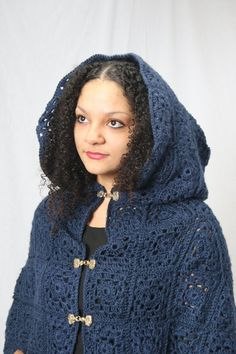 Ready to ship_ Blue cloak medieval cloak crochet cloak Medieval Cloak, High Fashion, Womens Fashion, Fashion News, Knit Crochet, Crochet Sweaters, Crochet Granny, Poncho Sweater, Winter Coats Women