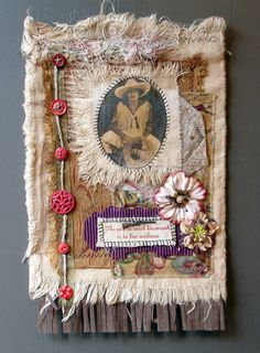 Collaged fabric wall hanging, mixed media by Tristan Robin