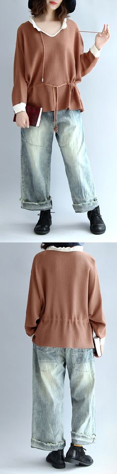 brown-cotton-sweaters-pullover-drawstring-long-sleeve-knit-tops