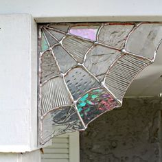 Stained Glass Spider Web Corner,Home decor, Garden decor,spider web decor, halloween decor, stained glass,garden, corners, magical, unique by TheSweetKarmaBar on Etsy https://www.etsy.com/listing/483162425/stained-glass-spider-web-cornerhome